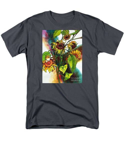 Men's T-Shirt  (Regular Fit) featuring the painting Sunflowers On The Rise by Kathy Braud