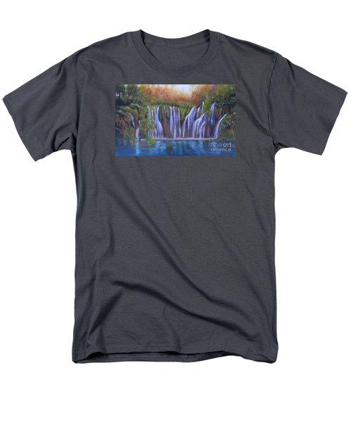 Men's T-Shirt  (Regular Fit) featuring the painting Waterfalls - Plitvice Lakes by Vesna Martinjak