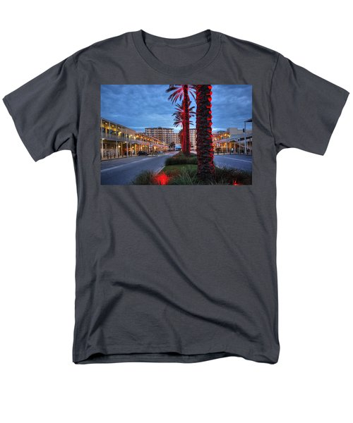Men's T-Shirt  (Regular Fit) featuring the digital art Wharf Red Lighted Trees by Michael Thomas