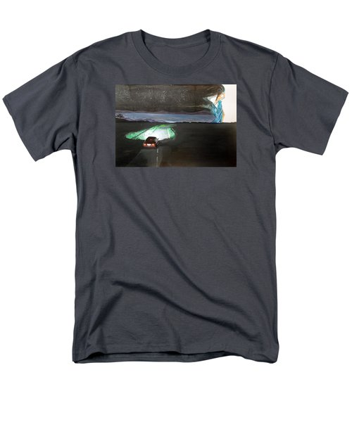 Men's T-Shirt  (Regular Fit) featuring the painting When The Night Start To Walk Listen With Music Of The Description Box by Lazaro Hurtado