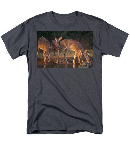 Whitetail Deer At Waterhole Texas Men's T-Shirt  (Regular Fit) by Dave Welling