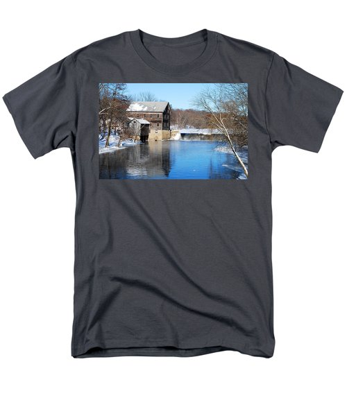 Men's T-Shirt  (Regular Fit) featuring the photograph Winter Capture Of The Old Jaeger Rye Mill by Janice Adomeit