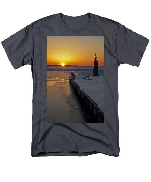 Men's T-Shirt  (Regular Fit) featuring the photograph Winter Sunset On Lake Winneconne by Judy  Johnson