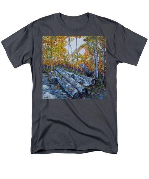 Men's T-Shirt  (Regular Fit) featuring the painting Winter's Firewood by Marilyn  McNish