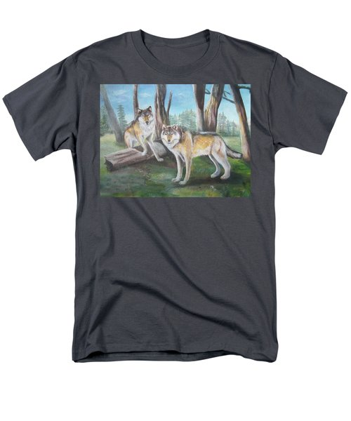 Men's T-Shirt  (Regular Fit) featuring the painting Wolves In The Forest by Thomas J Herring