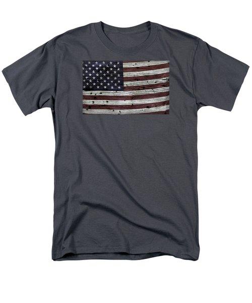 Wooden Textured Usa Flag3 Men's T-Shirt  (Regular Fit)