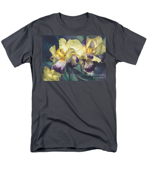 Yellow And Purple Streaked Irises Men's T-Shirt  (Regular Fit) by Greta Corens
