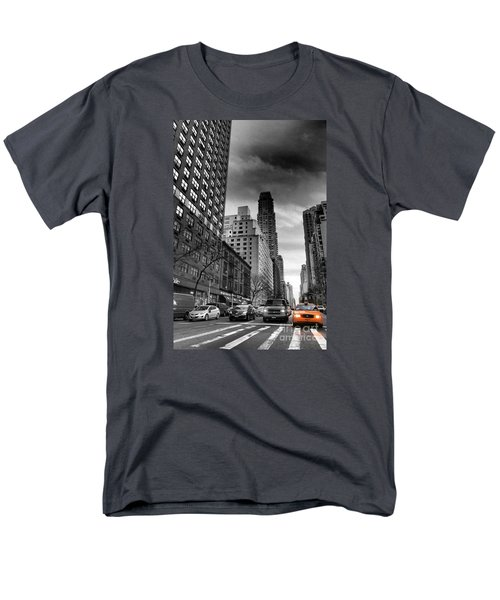 Yellow Cab One - New York City Street Scene Men's T-Shirt  (Regular Fit) by Miriam Danar