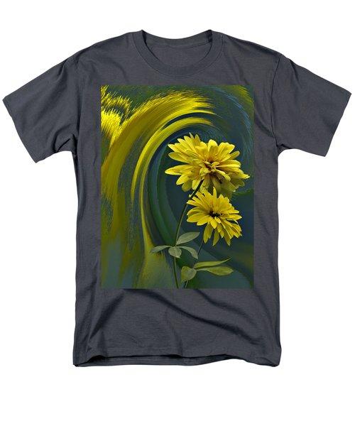 Men's T-Shirt  (Regular Fit) featuring the digital art Yellow Mum Fantasy by Judy  Johnson