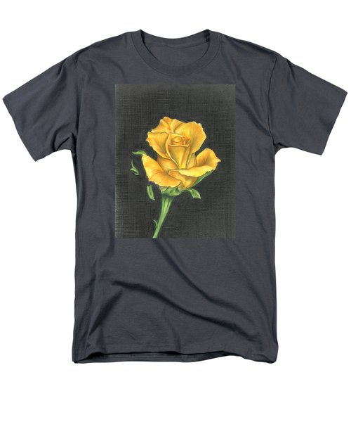 Men's T-Shirt  (Regular Fit) featuring the drawing Yellow Rose by Troy Levesque