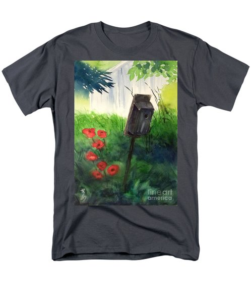 Men's T-Shirt  (Regular Fit) featuring the painting A Bird House In The Geddes Farm --ann Arbor Michigan by Yoshiko Mishina
