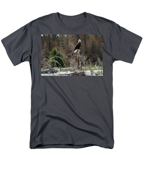 Men's T-Shirt  (Regular Fit) featuring the photograph American Eagle On Snake River by Living Color Photography Lorraine Lynch