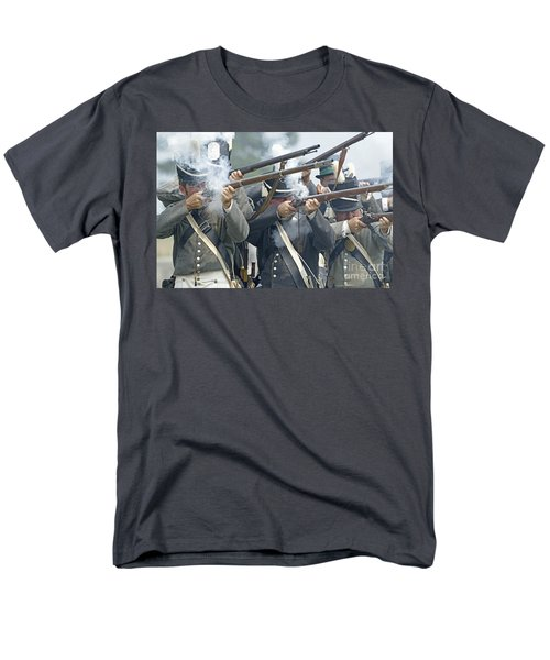 American Infantry Firing Men's T-Shirt  (Regular Fit) by JT Lewis