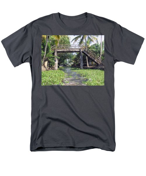 An Old Stone Bridge Over A Canal In Alleppey Men's T-Shirt  (Regular Fit) by Ashish Agarwal