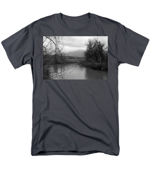 Men's T-Shirt  (Regular Fit) featuring the photograph At The River Turn Bw by Kathleen Grace