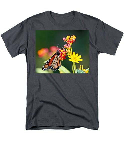 Butterfly Monarch On Lantana Flower Men's T-Shirt  (Regular Fit) by Luana K Perez
