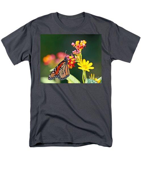 Men's T-Shirt  (Regular Fit) featuring the photograph Butterfly Monarch On Lantana Flower by Luana K Perez