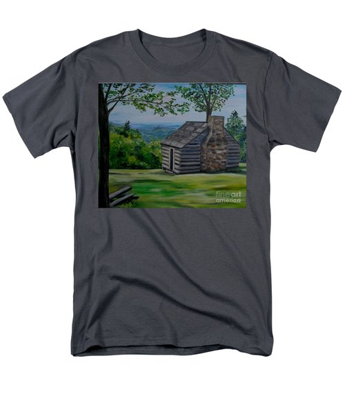 Men's T-Shirt  (Regular Fit) featuring the painting Cabin On The Blue Ridge Parkway In Va by Julie Brugh Riffey