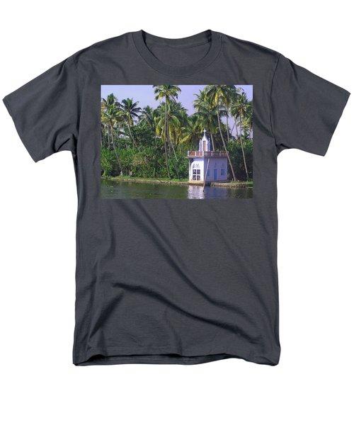 Church Located On A Coastal Lagoon In Kerala In India Men's T-Shirt  (Regular Fit) by Ashish Agarwal