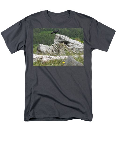 Men's T-Shirt  (Regular Fit) featuring the photograph Dandelion Crow - On Oregon Coast Driftwood  by Cliff Spohn