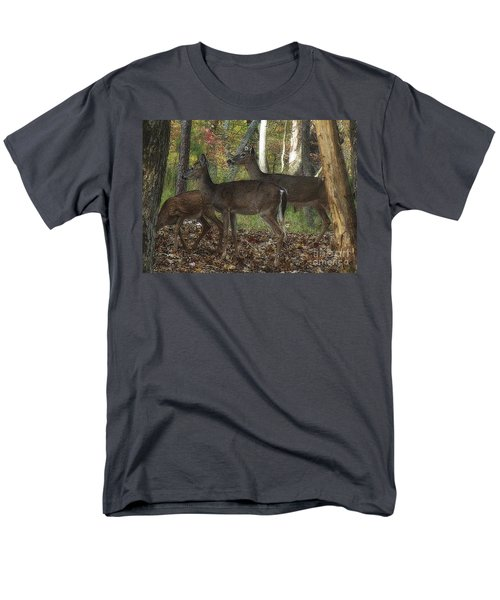 Men's T-Shirt  (Regular Fit) featuring the photograph Deer In Forest by Lydia Holly