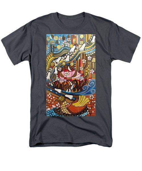 Footsteps To Peace Colorful Abstract Symbolism With Urban Cityscape Path Tracks Bird Dove Men's T-Shirt  (Regular Fit) by Rachel Hershkovitz