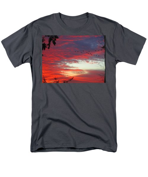 Men's T-Shirt  (Regular Fit) featuring the photograph Papaya Colored Sunset With Geese by Kym Backland