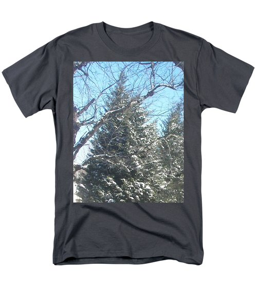 Men's T-Shirt  (Regular Fit) featuring the photograph Snow Sprinkled Pine by Pamela Hyde Wilson