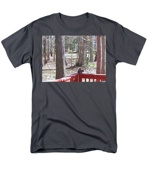 Men's T-Shirt  (Regular Fit) featuring the photograph Squirrel Waiting by Pamela Hyde Wilson