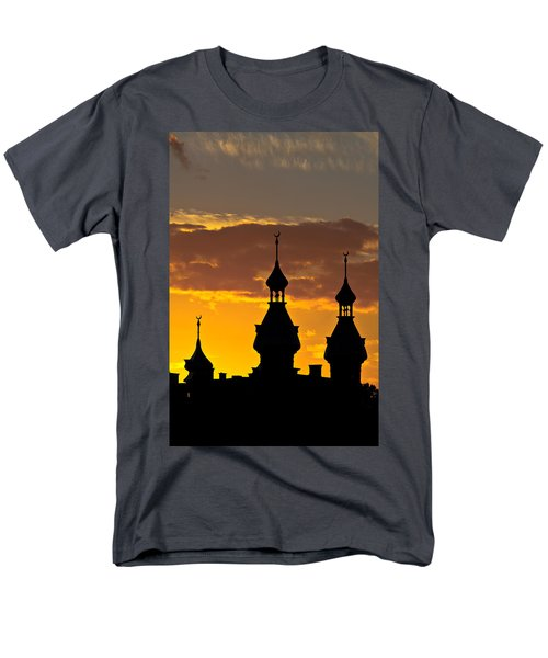 Men's T-Shirt  (Regular Fit) featuring the photograph Tampa Bay Hotel Minarets At Sundown by Ed Gleichman