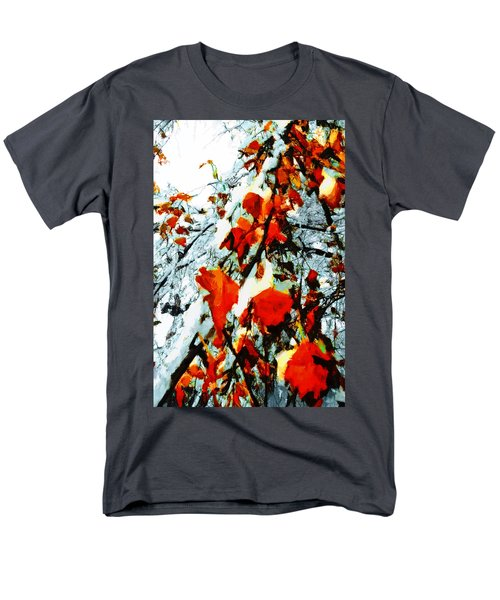 Men's T-Shirt  (Regular Fit) featuring the photograph The Autumn Leaves And Winter Snow by Steve Taylor