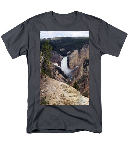Men's T-Shirt  (Regular Fit) featuring the photograph Vertical Lower Falls Of Yellowstone by Living Color Photography Lorraine Lynch