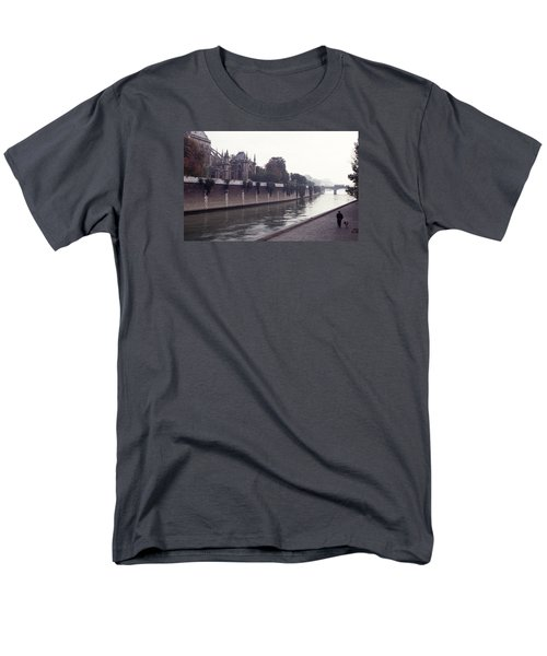 Men's T-Shirt  (Regular Fit) featuring the photograph Walking The Dog Along The Seine by Tom Wurl