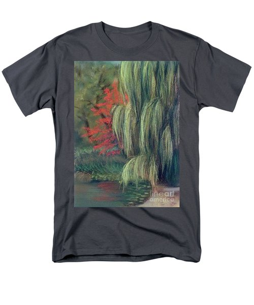 Men's T-Shirt  (Regular Fit) featuring the drawing Willow Tree - Hidden Lake Gardens -tipton Michigan by Yoshiko Mishina