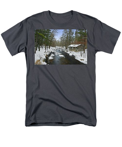 Men's T-Shirt  (Regular Fit) featuring the photograph Winter Saxeville Log Cabin by Judy  Johnson
