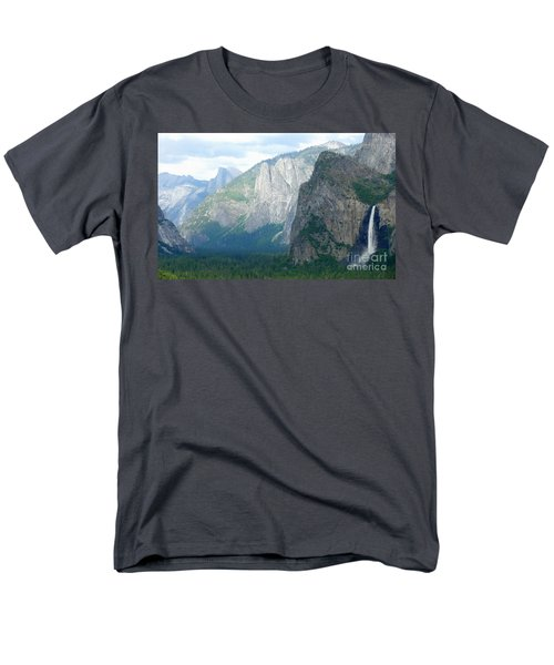 Yosemite Bridalveil Fall Men's T-Shirt  (Regular Fit) by Henrik Lehnerer
