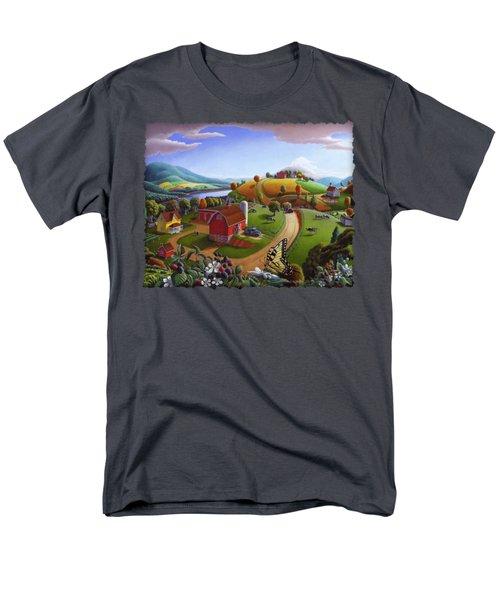 Folk Art Blackberry Patch Rural Country Farm Landscape Painting - Blackberries Rustic Americana Men's T-Shirt  (Regular Fit)