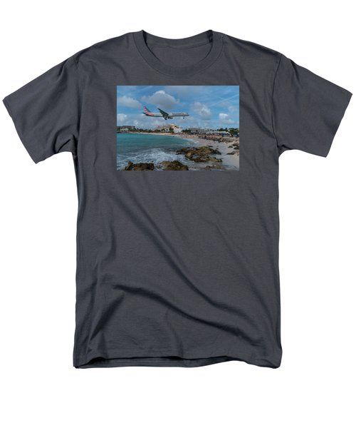 American Airlines Landing At St. Maarten Men's T-Shirt  (Regular Fit) by David Gleeson
