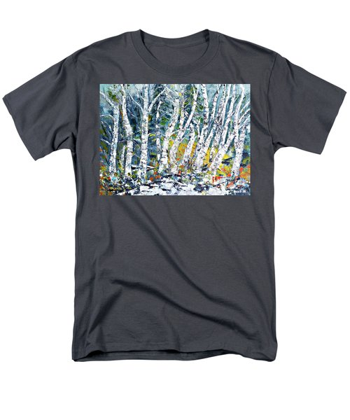 Men's T-Shirt  (Regular Fit) featuring the painting Birches Pond by AmaS Art