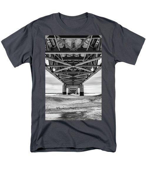Men's T-Shirt  (Regular Fit) featuring the photograph Black And White Mackinac Bridge Winter by John McGraw