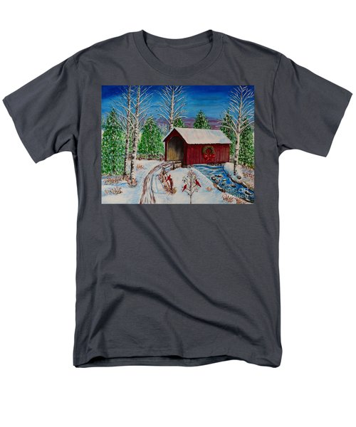 Men's T-Shirt  (Regular Fit) featuring the painting Christmas Bridge by Melvin Turner