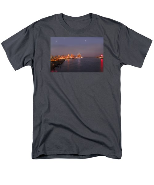 Men's T-Shirt  (Regular Fit) featuring the photograph Detroit Skyline At Night by Michael Rucker