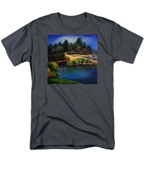 Men's T-Shirt  (Regular Fit) featuring the painting Japanese Gardens - Original Sold by Therese Alcorn