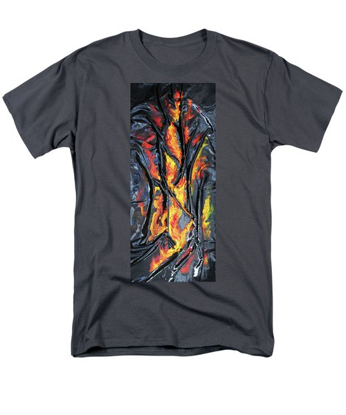 Men's T-Shirt  (Regular Fit) featuring the mixed media Leather And Flames by Angela Stout