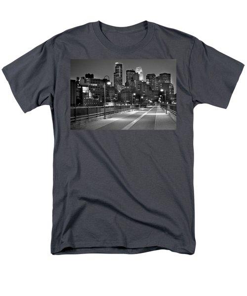Minneapolis Skyline From Stone Arch Bridge Men's T-Shirt  (Regular Fit) by Jon Holiday