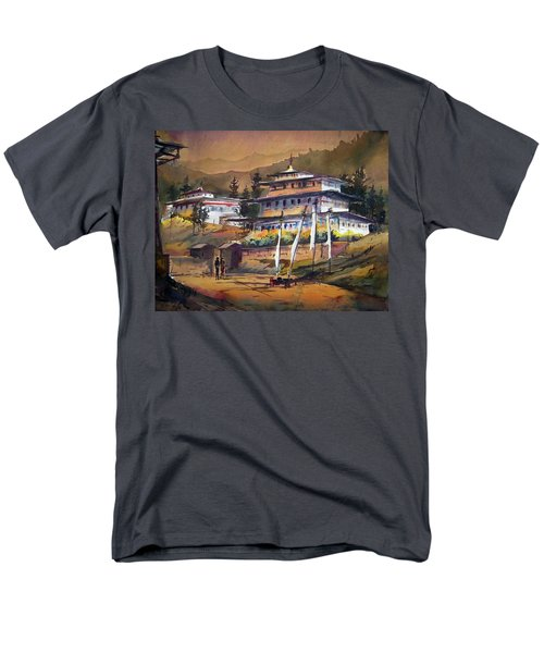 Monastery In Himalaya Mountain Men's T-Shirt  (Regular Fit) by Samiran Sarkstery in Himalaya Mountainar