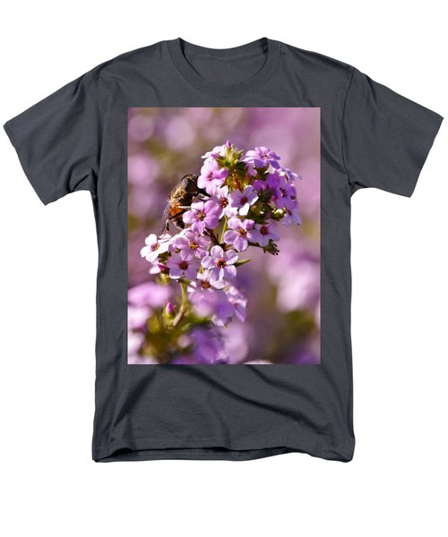 Purple Blossoms And Hoverfly Men's T-Shirt  (Regular Fit) by Werner Lehmann