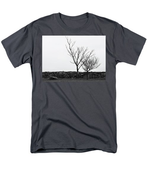 Men's T-Shirt  (Regular Fit) featuring the photograph Stone Wall With Trees In Winter by Nancy De Flon