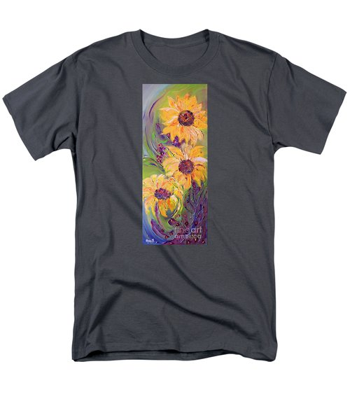 Men's T-Shirt  (Regular Fit) featuring the painting Sunflowers by AmaS Art