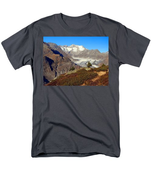 The Large Aletsch Glacier In Switzerland Men's T-Shirt  (Regular Fit) by Ernst Dittmar